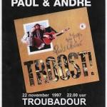 Aankondiging cd-presentatie Troost in café De Troubadour te Groningen met welkomstmuziek door T-Beng