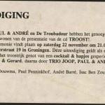 Uitnodiging cd-presentatie Troost in café De Troubadour te Groningen met T-Beng als muzikale omlijsting